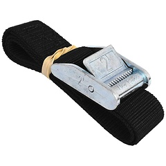 1 inch Color Coded Cam Strap, Rolled, 2 foot Black